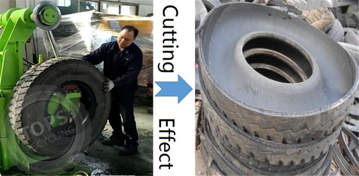 máquina de corte de neumáticos desechada